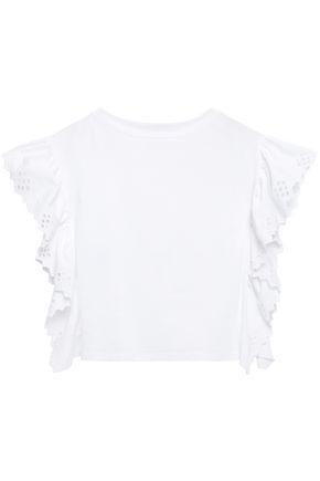 ALBERTA FERRETTI ラッフル付き イギリス刺繡入り ポプリンパネル コットンジャージー Tシャツ