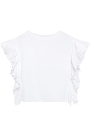 ALBERTA FERRETTI Ruffled broderie anglaise poplin-paneled cotton-jersey T-shirt
