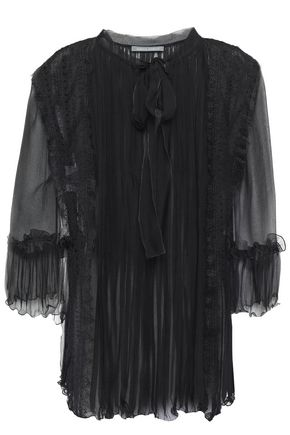 ALBERTA FERRETTI Pussy-bow paneled georgette, lace and tulle blouse