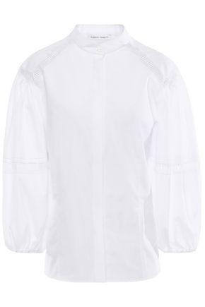 ALBERTA FERRETTI Gathered lace-trimmed cotton blouse