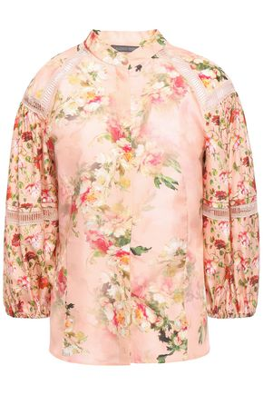 ALBERTA FERRETTI Gathered lace-trimmed floral-print silk-satin blouse