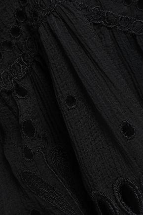 アルベルタ フェレッティ イギリス刺繍パネル コットン混ジョーゼット ミニワンピース