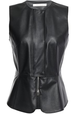 CEDRIC CHARLIER Faux leather peplum top