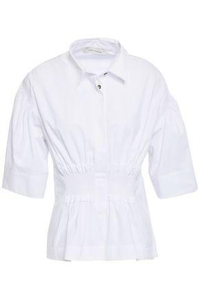 CEDRIC CHARLIER Shirred gathered cotton-poplin top