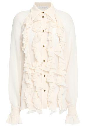 PHILOSOPHY di LORENZO SERAFINI Ruffled hammered georgette blouse