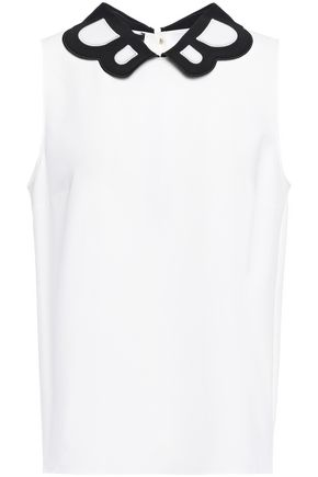 BOUTIQUE MOSCHINO Embroidered stretch-crepe top