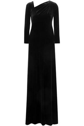 GIORGIO ARMANI Ruched velvet maxi dress