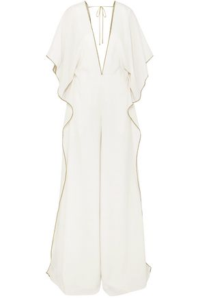ROLAND MOURET Auclair embroidered wool-crepe jumpsuit