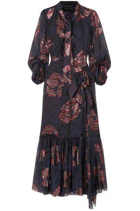 ROLAND MOURET Dana cutout metallic fil coupé silk-blend chiffon dress