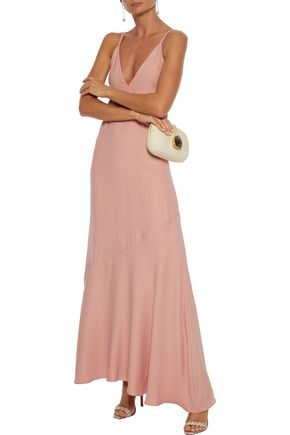 Les HÉroÏnes By Vanessa Cocchiaro The Boudicca Flared Crepe Gown In Blush