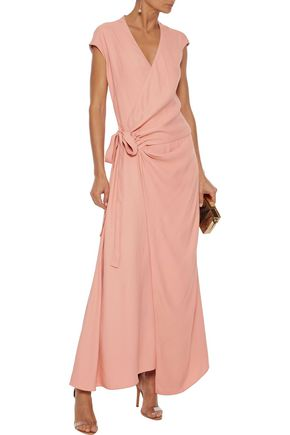 Les HÉroÏnes By Vanessa Cocchiaro The Elizabeth Crepe Maxi Wrap Dress In Blush