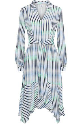 IRIS & INK Rosemary asymmetric dégradé striped crepe dress