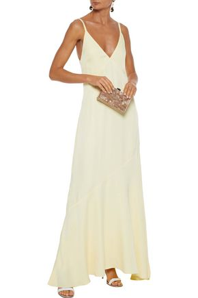 Les HÉroÏnes By Vanessa Cocchiaro The Boudicca Flared Crepe Gown In Pastel Yellow
