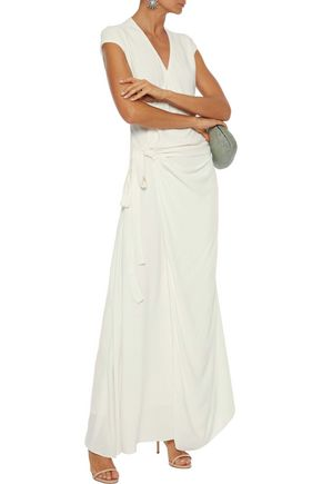Les HÉroÏnes By Vanessa Cocchiaro The Elizabeth Crepe Maxi Wrap Dress In White