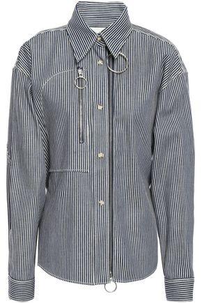 CEDRIC CHARLIER Belted zip-detailed striped denim shirt