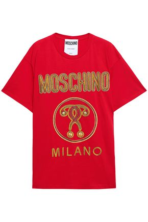 MOSCHINO Embroidered cotton-jersey T-shirt