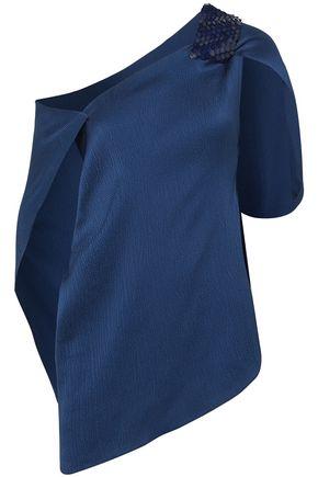 ROLAND MOURET One-shoulder hammered stretch-silk satin top