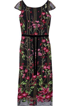 MARCHESA NOTTE Velvet-trimmed embellished tulle dress