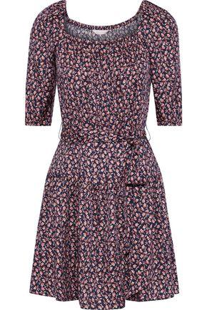 REBECCA TAYLOR Francesca belted floral-print silk-blend mini dress