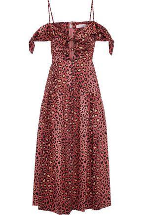 REBECCA TAYLOR Cold-shoulder cutout leopard-print cotton-poplin midi dress