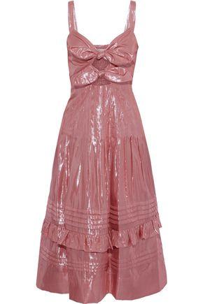 REBECCA TAYLOR Pleated cutout silk-blend lamé midi dress