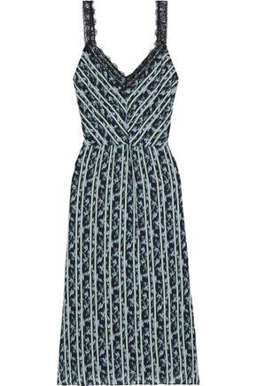 JASON WU Lace-trimmed printed crepe de chine midi dress