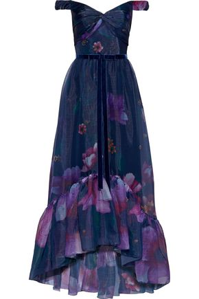 MARCHESA NOTTE Off-the-shoulder floral-print textured-chiffon gown