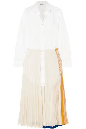 SONIA RYKIEL فستان طويل بطبقات من الجيرسي وقماش البوبلين القطني
