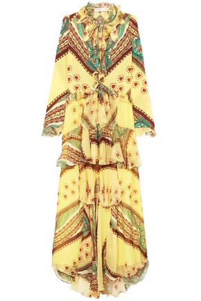 ETRO Ruffled printed silk-crepon and crepe de chine maxi dress