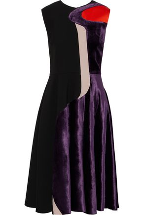 ROKSANDA Paneled satin, velvet and cady dress