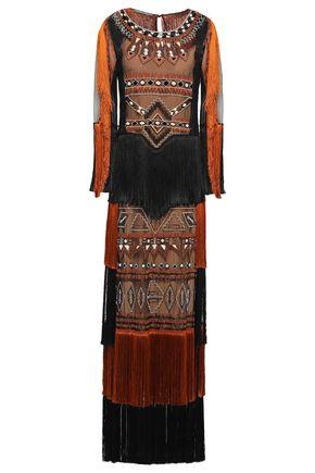 ALBERTA FERRETTI フリンジ&装飾付き チュール ロングドレス