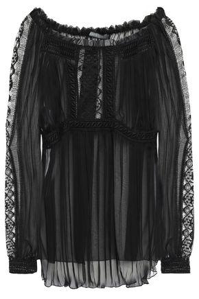 ALBERTA FERRETTI Pleated lace-trimmed silk-voile blouse
