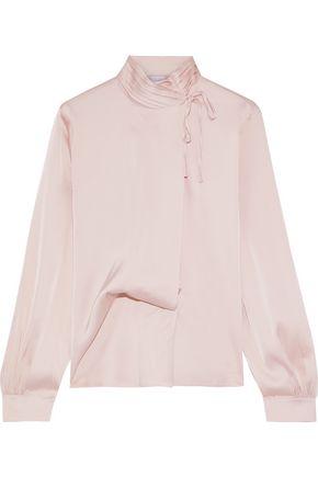 IRIS & INK Tulia bow-detailed satin blouse