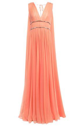 ALBERTA FERRETTI ギャザー&ドレープ入り 装飾付き シルクボイル ロングドレス