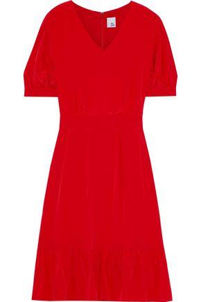 IRIS & INK Bougainvillea ruffled silk crepe de chine dress