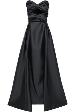 ALBERTA FERRETTI Cutout bow-embellished satin-twill gown