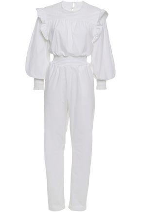 PHILOSOPHY di LORENZO SERAFINI Ruffle shirred cotton-blend poplin jumpsuit