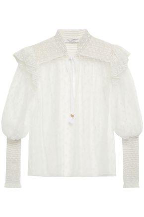 PHILOSOPHY di LORENZO SERAFINI Ruffled shirred cotton-blend poplin jumpsuit