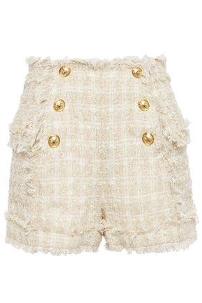 BALMAIN Frayed bouclé-tweed shorts
