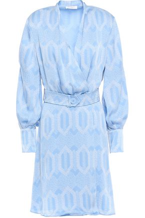 EQUIPMENT Fanetta belted printed washed-satin mini wrap dress