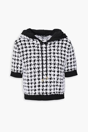 BALMAIN Cropped houndstooth-jacquard hooded top