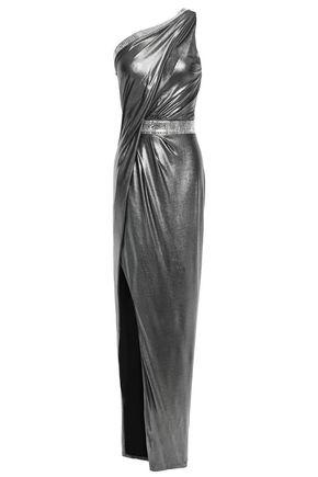 BALMAIN ワンショルダー 装飾付き ラメ ロングドレス
