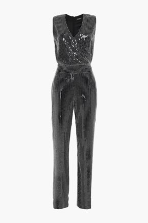 BALMAIN Wrap-effect embellished crepe jumpsuit