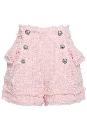 BALMAIN Frayed button-embellished cotton-blend tweed shorts