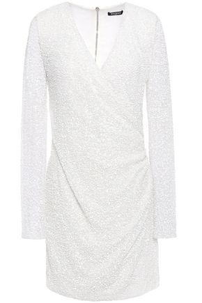 BALMAIN Wrap-effect sequined open-knit mini dress