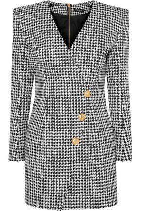 BALMAIN Wrap--effect houndstooth cotton-blend jacquard mini dress