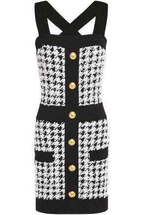 BALMAIN Button-embellished houndstooth bouclé-tweed mini dress