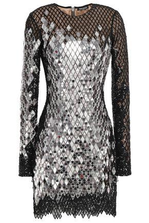 BALMAIN Sequined stretch-tulle mini dress