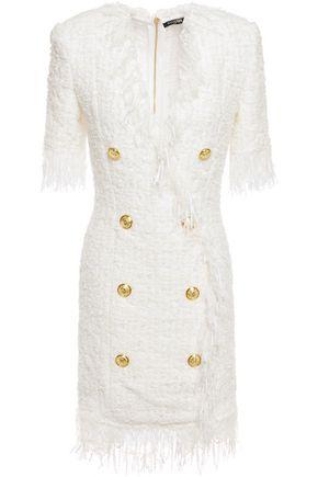 BALMAIN Frayed button-embellished bouclé-tweed mini dress