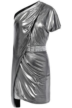 BALMAIN One-shoulder draped embellished lamé mini dress